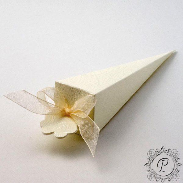 Ivory Soft Rose Confetti Cone Wedding Favour