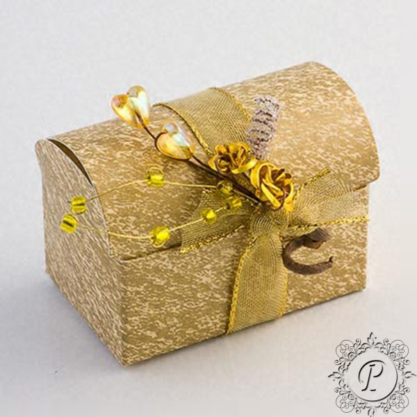 Ivory and Gold marbled Ballotin Chest Wedding Favour Box