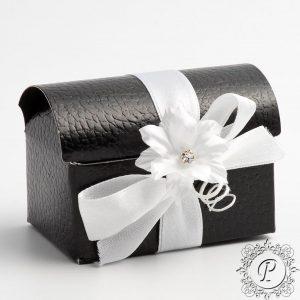 Black pelle Ballotin Chest Wedding Favour Box