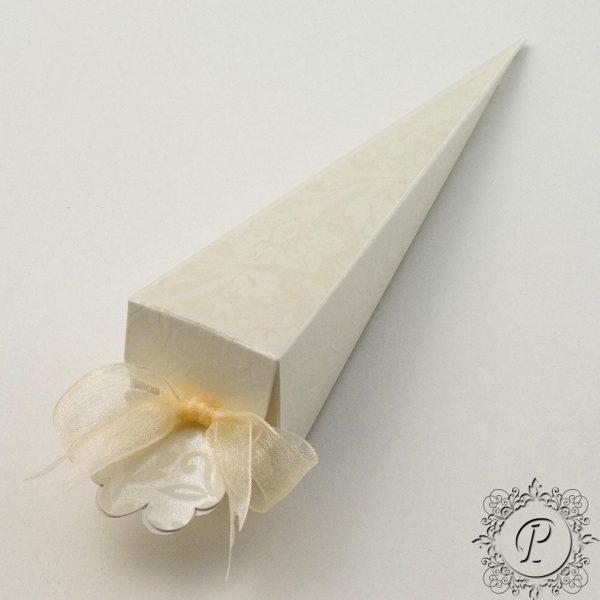 Ivory Diamante Confetti Cone Wedding Favour