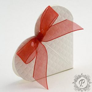 White Quilted Heart Wedding Favour