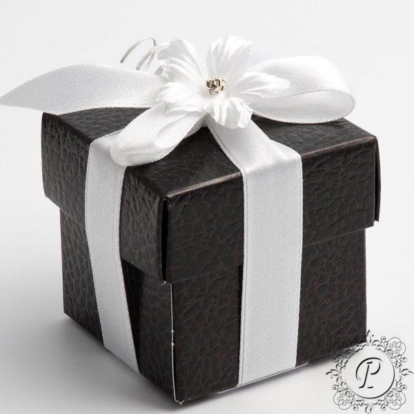 Black Pelle Cube Corpercio Wedding Favour Box