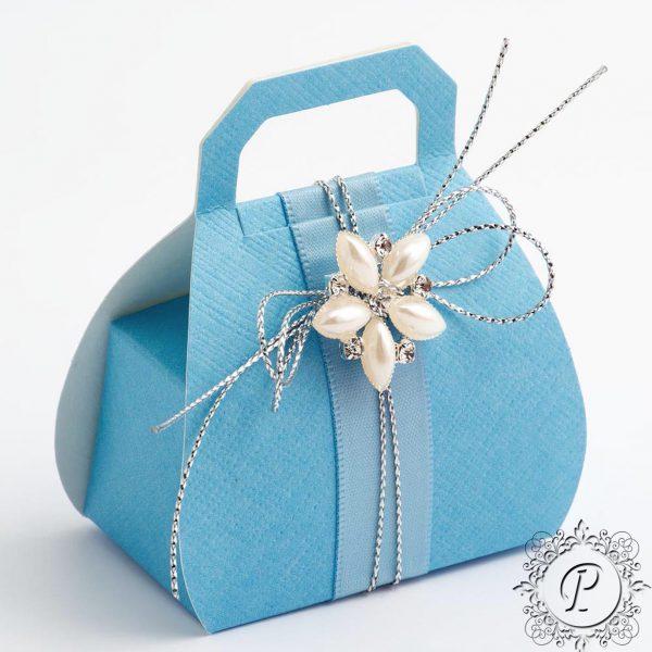 Blue Handbag Wedding Favour Box