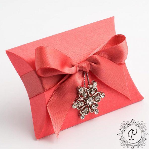 Coral Pillow Bustina Wedding Favour Box
