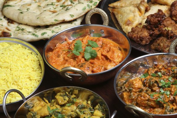 Range of curries, naan breads and starters