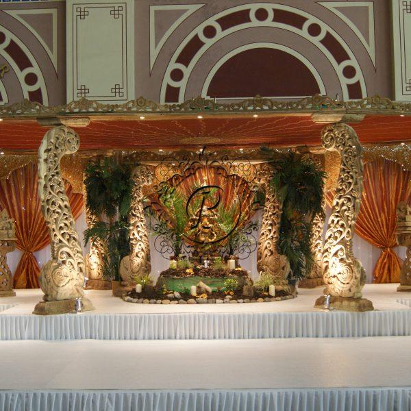 Front view of Diya Mandap with Ganesh Murti decor setup