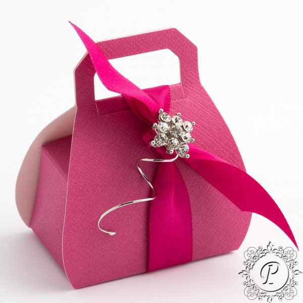 Fuchsia Handbag Wedding Favour Box
