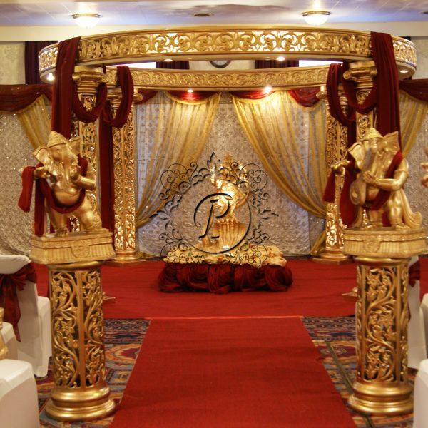 Front View of Ashika Mandap with pillars and murtis