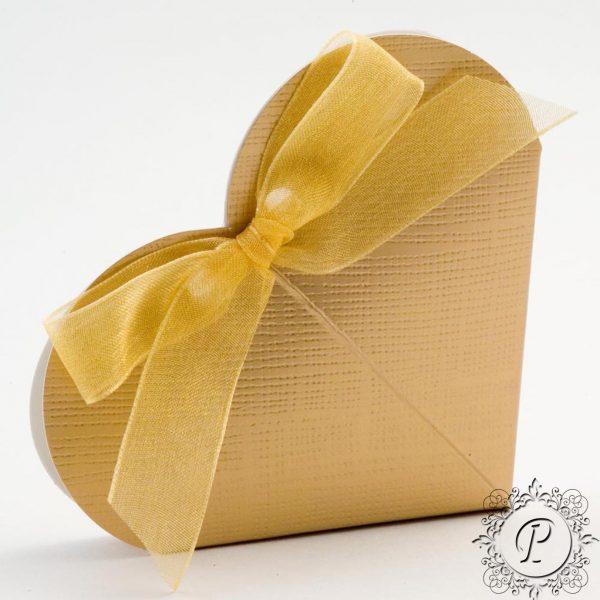 Gold Heart Wedding Favour Box