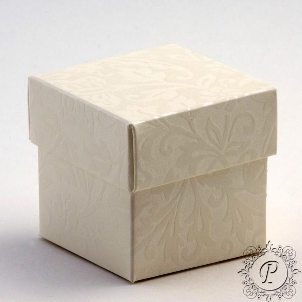 Ivory Diamante Cube Corpercio Wedding Favour Box
