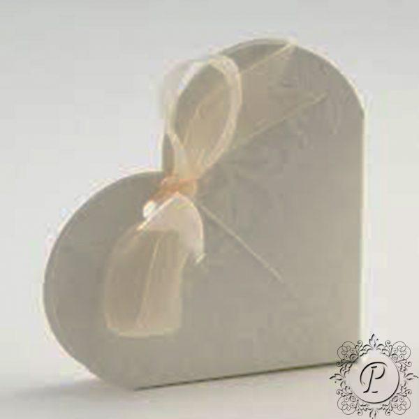 Ivory Diamante Heart Wedding Favour Box