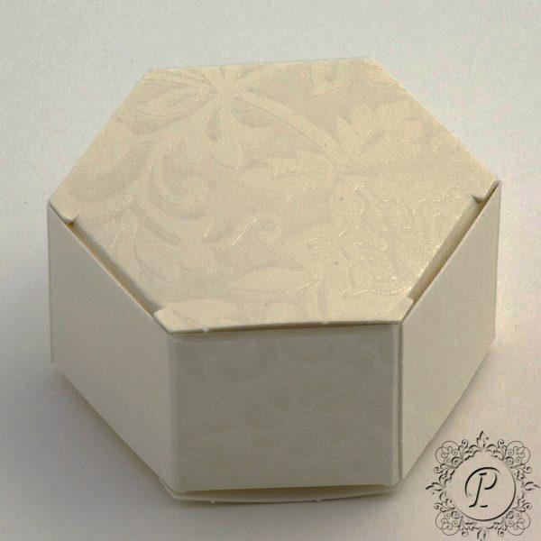 Ivory Diamante Hex Astuccio Wedding Favour Box