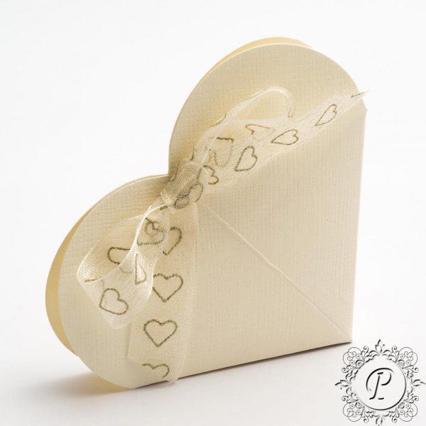 Ivory Heart Wedding Favour Box