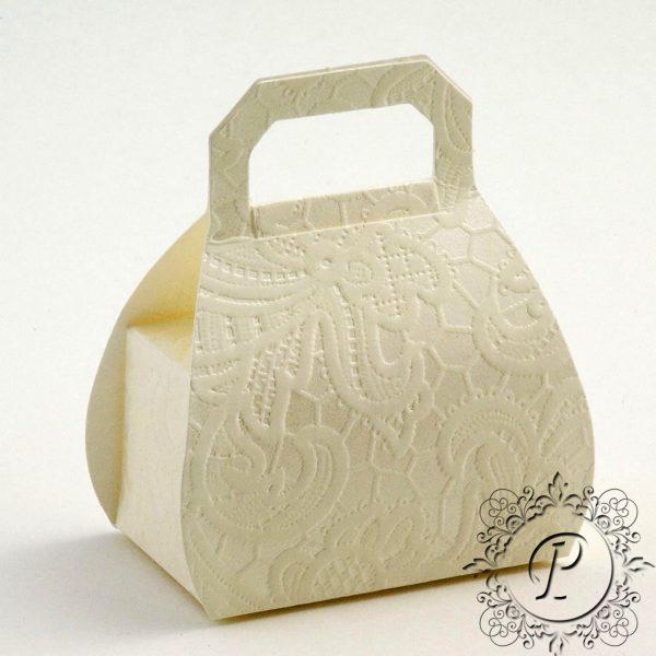Ivory Macrame Handbag Wedding Favour Box