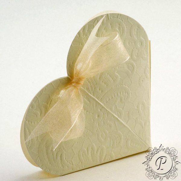 Ivory Macrame Heart Wedding Favour Box