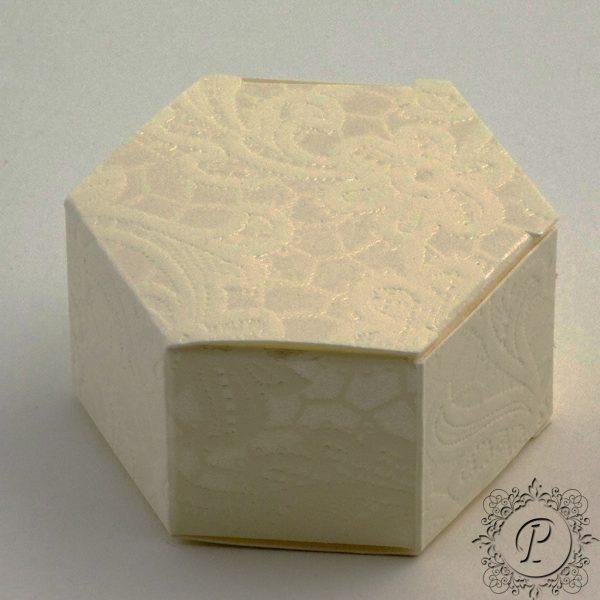 Ivory Macrame Hex Astuccio Wedding Favour Box