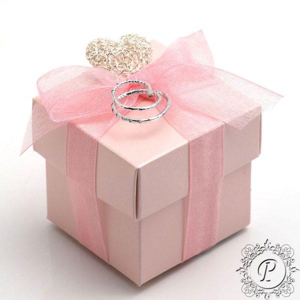 Pink Satin Cube Corpercio Wedding Favour Box