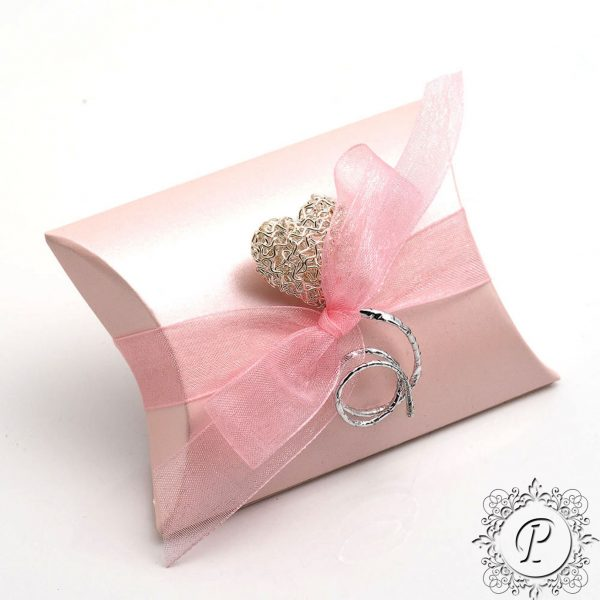 Pink Satin Pillow Bustina Wedding Favour Box