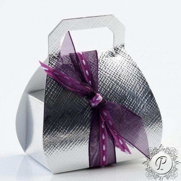 Silver Handbag Wedding Favour Box