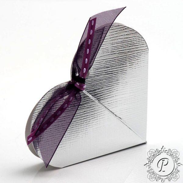 Silver Heart Wedding Favour Box