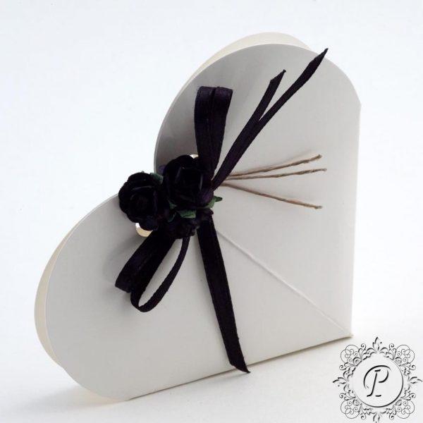 White Gloss Heart Wedding Favour Box