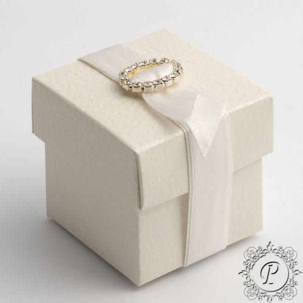 White Pelle Cube Corpercio Wedding Favour Box
