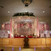 White Crystal Zali Mandap front view on stage