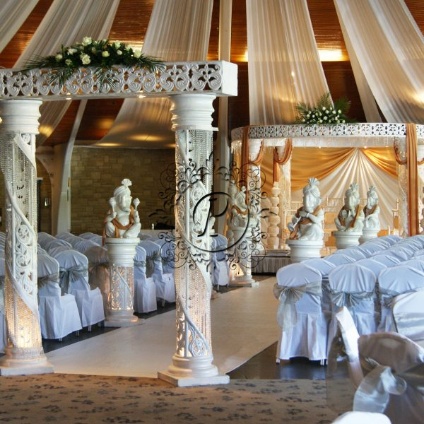 White Zali Mandap with a walkway and theatre style seating